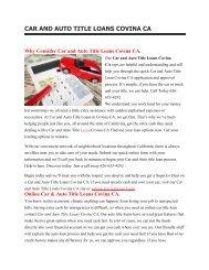 Get Auto Car Title Loans West Covina CA | 626-653-4292