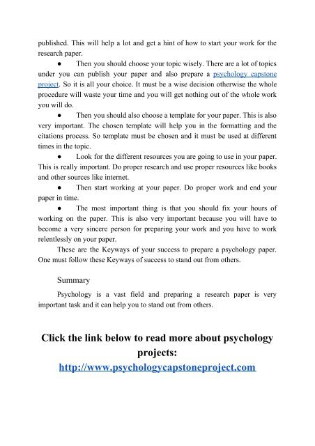 Key Ways of Writing a Psychology Paper.