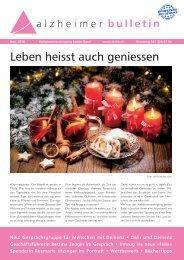 Leben heisst auch geniessen – Alzheimer-Bulletin 1/2018