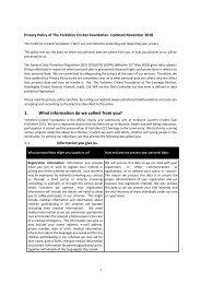 GDPR Privacy Policy Yorkshire Cricket Foundation - updated Nov 18