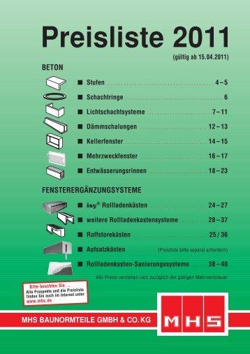 Gesamt-Preisliste 2011 - MHS Baunormteile GmbH