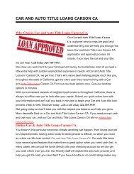 Get Auto Car Title Loans Carson CA | 424-305-3935