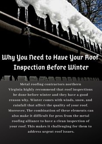 Be Prepared for the Cold Season | Roofing Contractor VA