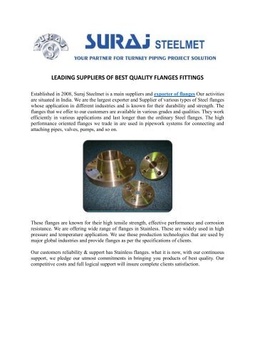 LEADING SUPPLIERS OF BEST QUALITY FLANGES FITTINGS