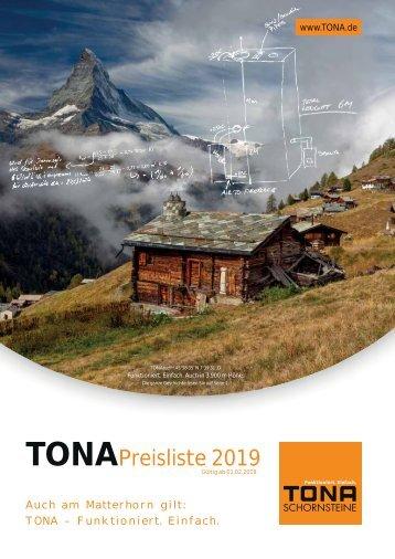 Tona Schornsteine Preisliste 2019