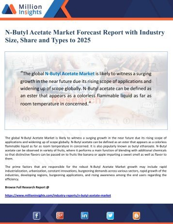 N-Butyl Acetate Market Forecast Report with Industry Size, Share and Types to 2025