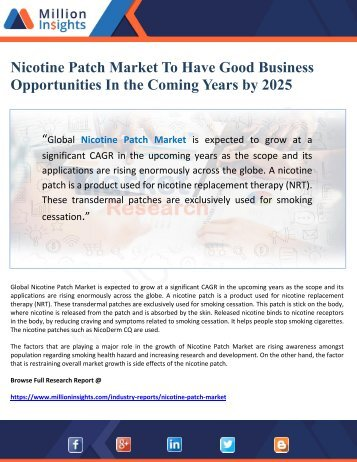 Nicotine Patch Market To Have Good Business Opportunities In the Coming Years by 2025