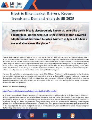 Electric Bike market Drivers, Recent Trends and Demand Analysis till 2025