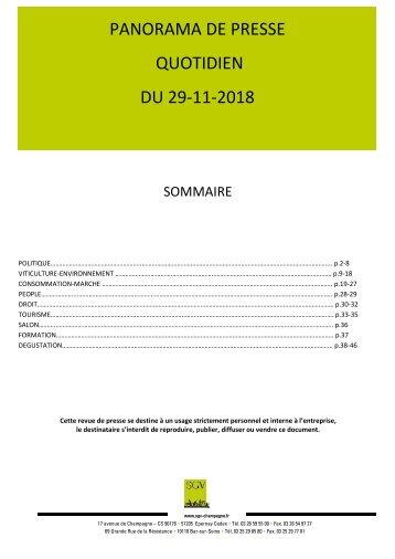 Panorama de presse quotidien du 29-11-2018