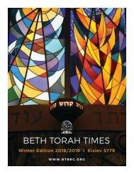 BETH TORAH TIMES WINTER EDITION -Nov-Dec 2018