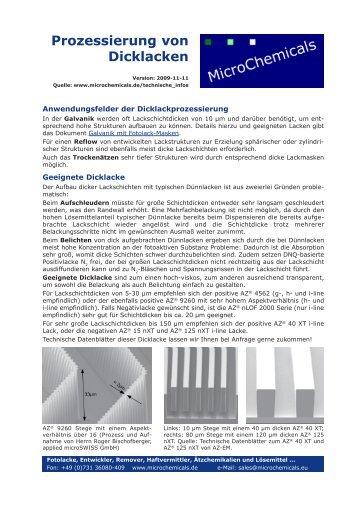 Prozessierung von Dicklacken - MicroChemicals GmbH
