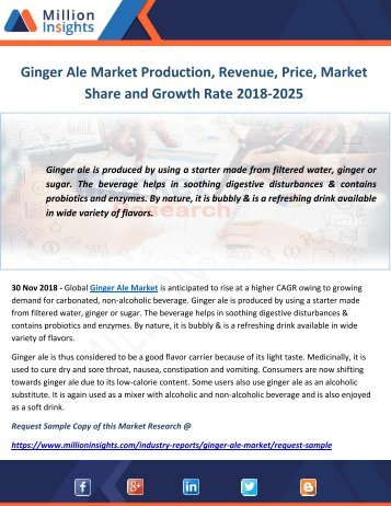 Ginger Ale Market Production, Revenue, Price, Market Share and Growth Rate 2018-2025