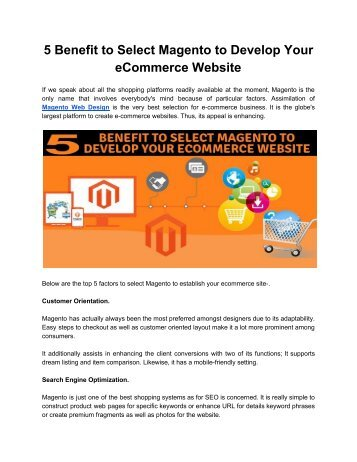 5 Benefit to Select Magento to Develop Your eCommerce Website