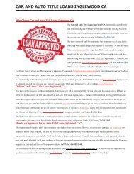 Get Auto Car Title Loans Inglewood CA | 424-351-2145