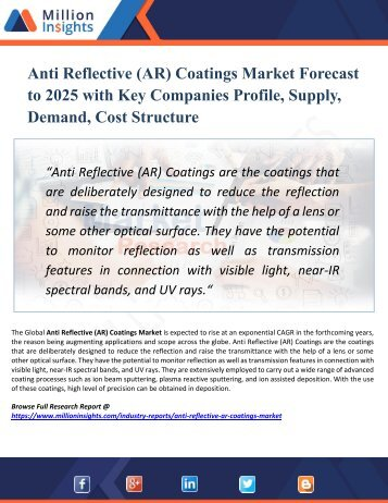 Anti Reflective (AR) Coatings Market Research – Industry Size, Share, Trends Analysis and Growth Forecast to 2025