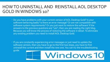 how to uninstall And  Reinstall aol desktop gold