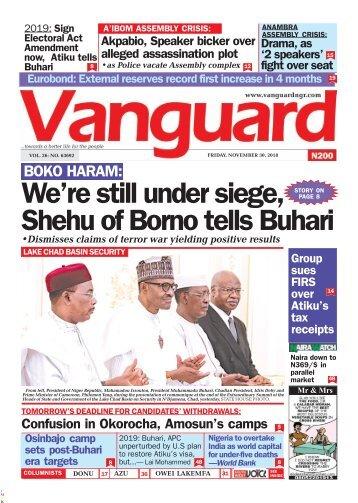 30112018 - BOKO HARAM: We're still under siege, Shehu of Borno tells Buhari