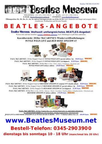 Beatles Museum - Katalog 92 mit Hyperlinks