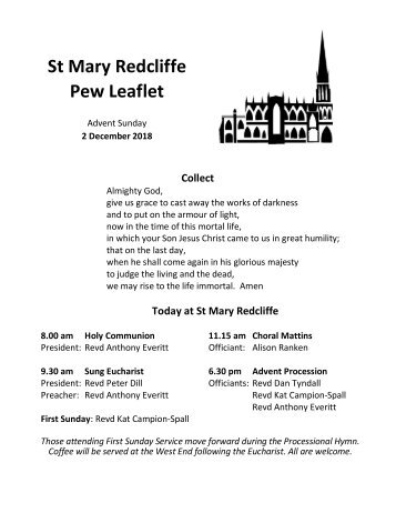 St Mary Redcliffe Church Pew Leaflet - December 3 2018
