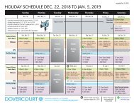 Dovercourt holiday 2018-2019 schedule