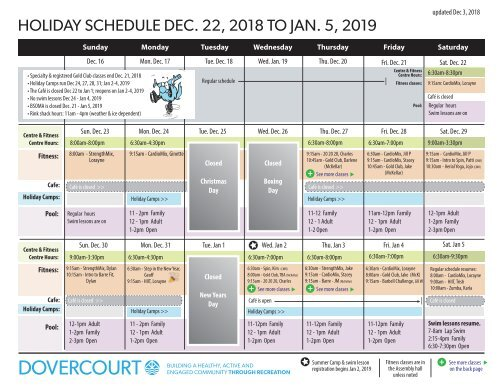 Dovercourt holiday 2018-2019 schedule