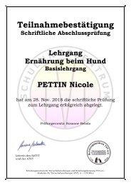 Zertifikat - Ernährung