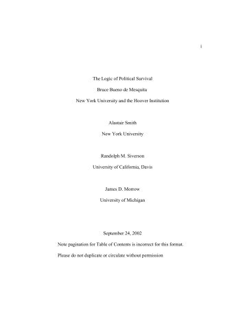 Bueno de Mesquita et al 2003 - logic.pdf - Division of Social Sciences