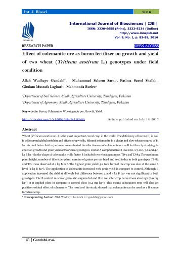 Effect of colemanite ore as boron fertilizer on growth and yield of two wheat (Triticum aestivum L.) genotypes under field condition