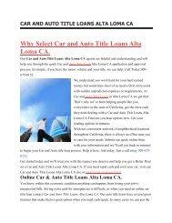 Get Auto Car Title Loans Alta Loma CA | 909-675-0152