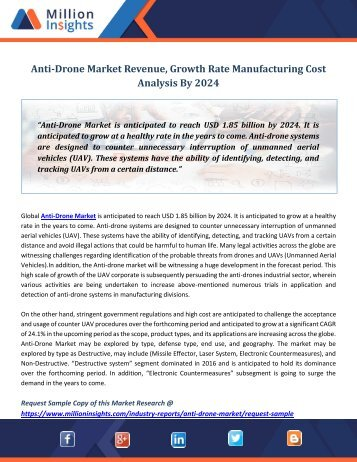 Anti-Drone Market Revenue, Growth Rate Manufacturing Cost Analysis By 2024