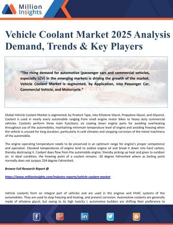 Vehicle Coolant Market 2025 Analysis by Demand, Trends & Key Players