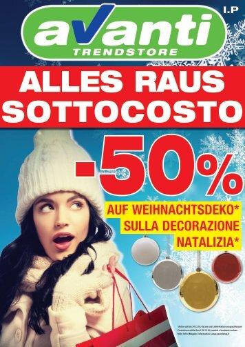 -50 % auf Weihnachtsdekoration