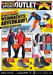 Bergsport Outlet Sattledt, Vöcklabruck und Steyregg: ab 5.12. startet unser großer Weihnachts-Abverkauf!