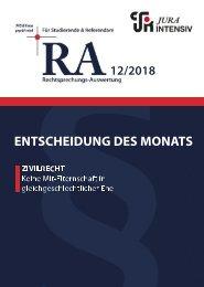 RA 12/2018 - Entscheidung des Monats