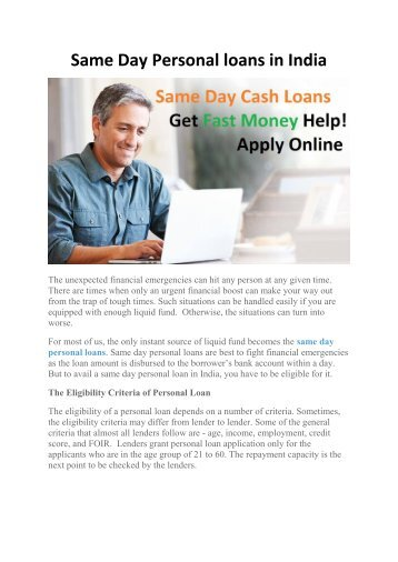 same day personal loans in india