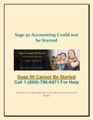Sage 50 Couldn't Be Started: Dial 1-800-796-0471 for Help