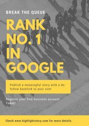 Rank No. 1 in Google - HighlightStory.com