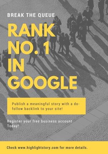 Rank No. 1 in Google - HighlightStory.com