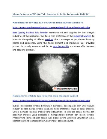 Manufacturer of White Talc Powder in India Bali SVI