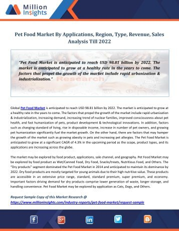 Pet Food Market By Applications, Region, Type, Revenue, Sales Analysis Till 2022
