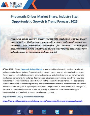 Pneumatic Drives Market Share, Industry Size, Opportunistic Growth & Trend Forecast 2025