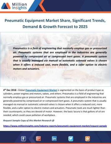 Pneumatic Equipment Market Share, Significant Trends, Demand & Growth Forecast to 2025