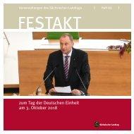 Festschrift zur Feierstunde zum Tag der Deutschen Einheit am 3. Oktober 2018 im Sächsischen Landtag
