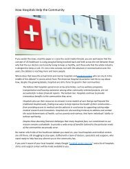 How Hospitals Help the Community