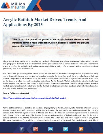 Acrylic Bathtub Market Driver, Trends, And Applications By 2025