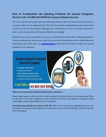 How to Troubleshoot the Updating Problems for Garmin Navigation Device Call +44-800-069-8998 for Instant Solution Service-converted
