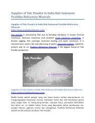 Supplier of Talc Powder in India Bali Pratibha Refractory Minerals