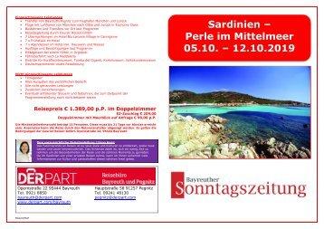Sardinien Flugreise 05.bis 12.10.2019