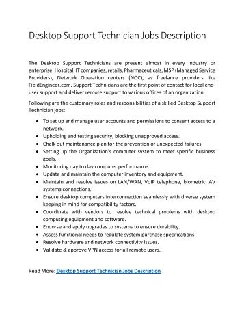 Desktop Support Technician Jobs Description