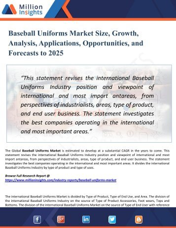 Baseball Uniforms Market 2025 Opportunities, Applications, Drivers, Challenges, Types, Countries, & Forecast